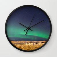 aurora Wall Clocks featuring Aurora by maisie ong