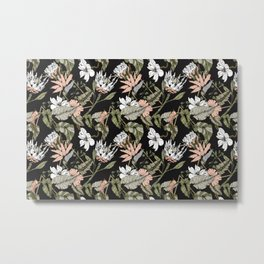 Dark pattern botanical boho Metal Print
