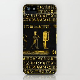 Golden Egyptian Gods and hieroglyphics on leather iPhone Case