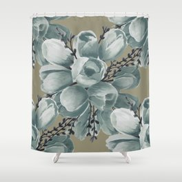 Spring Tulips Neutral  Shower Curtain