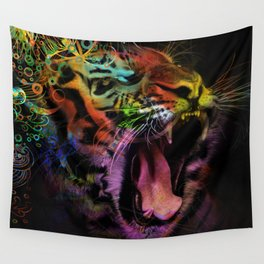 Tiger at the Gate Wall Tapestry