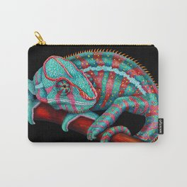 Panther Chameleon Turquoise Blue & Coral Red Carry-All Pouch