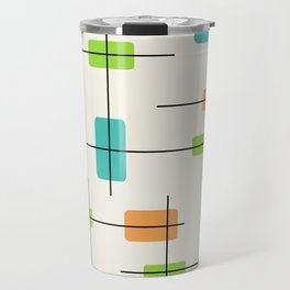 Rounded Rectangles And Squares Orange Turquoise Chartreuse Travel Mug