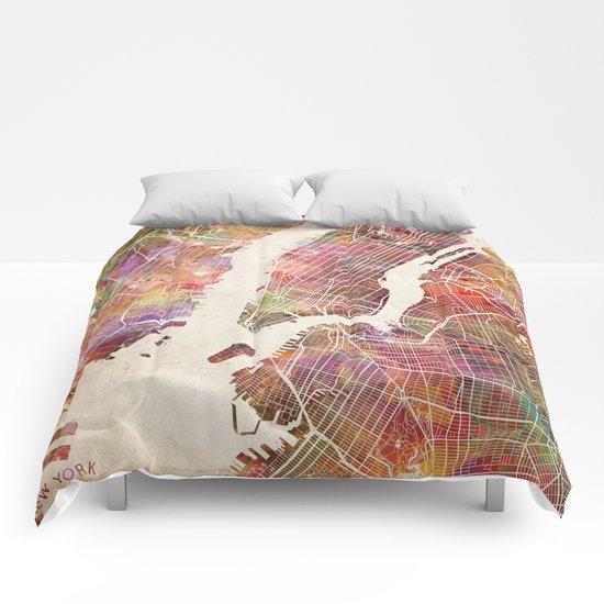 New York Map Watercolor Comforters