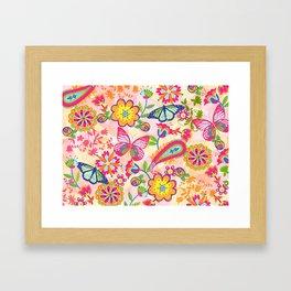 Butterflies and Fowers Framed Art Print