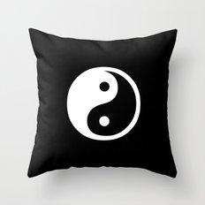Yin Yang Black White Throw Pillow