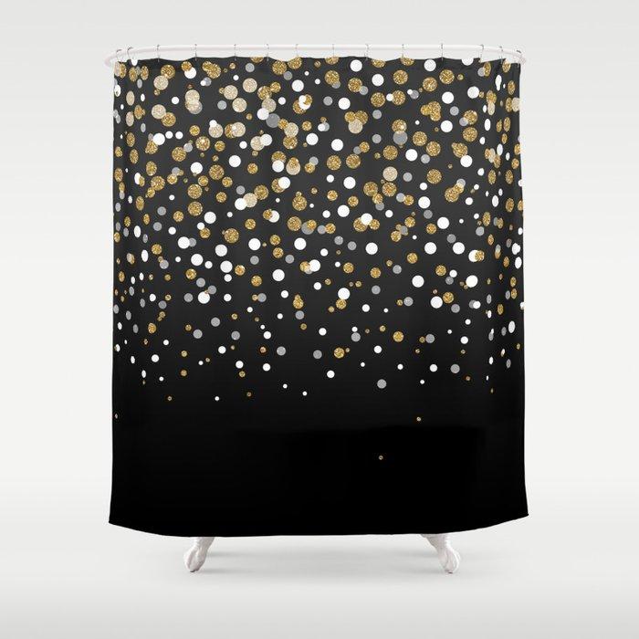 Pretty Modern Girly Faux Gold Glitter Confetti Ombre Illustration Shower Curtain