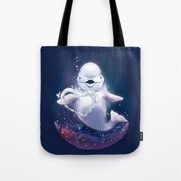 Beluga Whale Blow Kiss Tote Bag