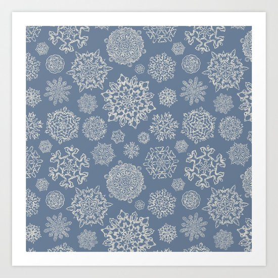 Merry Christmas- Abstract christmas snow star pattern on fresh grey I Art Print