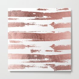 Elegant white faux rose gold brushstrokes stripes pattern Metal Print