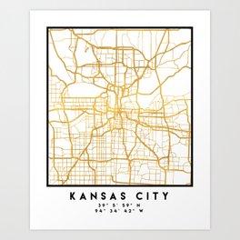 KANSAS CITY MISSOURI CITY STREET MAP ART Art Print