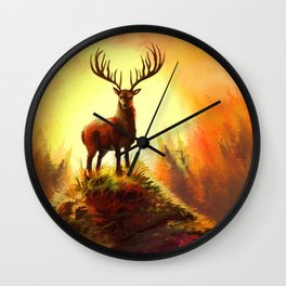 Stag Upon The Hill Wall Clock