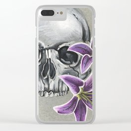 Skull with purple lily Clear iPhone Case