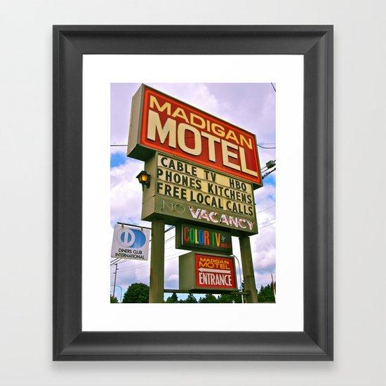 American Motel Sign Framed Art Print
