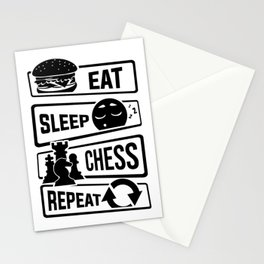 Eat Sleep Chess Repeat - Checkmate Checkerboard Stationery Cards