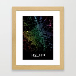 Bishkek, Kyrgyzstan, City, Map, Rainbow, Map, Art, Print Framed Art Print