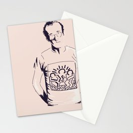 Keith Haring Cartoon Portrait illustration Stationery Cards
