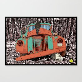 Old speed wagon with a wolf skull and a hawk. Canvas Print