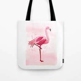 Pink Watercolor Flamingo Tote Bag