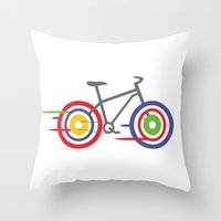bike Throw Pillows featuring Bike! by Alice Wieckowska