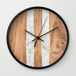 Wood Grain Stripes White Marble #497 Wall Clock
