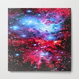 Fox Fur Nebula Galaxy  Red Blue Lavender Metal Print