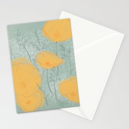 California Poppies in Gray Stationery Cards