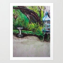 Birdcage in the California garden Art Print