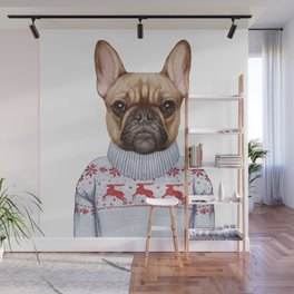 Animals as a human. French Bulldog in down vest and sweater. Wall Mural