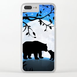 Moon and bears Clear iPhone Case