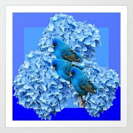 3 BLUE BIRDS & BLUE HYDRANGEAS ART Art Print