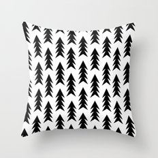 Trees - black and white modern minimal camping nature wanderlust hipster vintage retro classic natur Throw Pillow