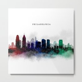 Philadelphia Watercolor Skyline Metal Print
