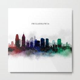 Philadelphia Watercolor Skyline Metal Print