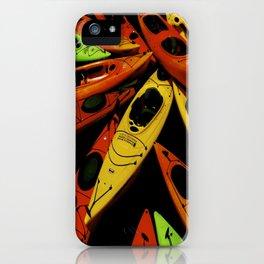 colorful kayak pattern iPhone Case