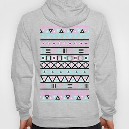 Aztec Influence Pattern Blue Black Pink White Hoody