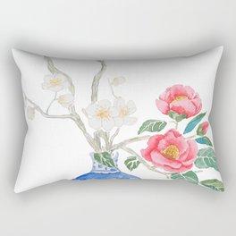 red camellia  flower white plum flower in blue vase Rectangular Pillow