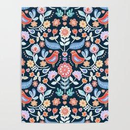 Happy Folk Summer Floral on Navy Poster