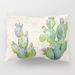 Water Color Prickly Pear Cactus Adobe Background Pillow Sham