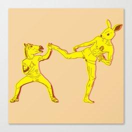 Horse-Dude versus Kick-Bunny Canvas Print