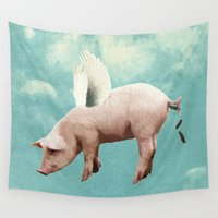 pigs Wall Tapestries featuring when pigs fly... by Seamless