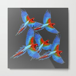 FLOCK OF BLUE MACAWS ON CHARCOAL Metal Print
