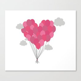 Balloons arranged as heart Canvas Print