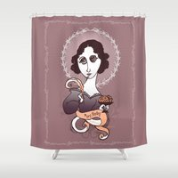 writer Shower Curtains featuring Mary Shelley Holy Writer by roberto lanznaster