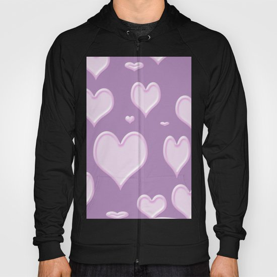 White hearts on light purple lila Hoody