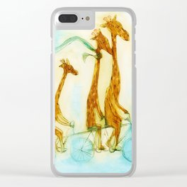 Family of giraffes rides a bicycle-tandem Clear iPhone Case