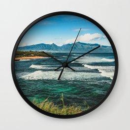 Wave Series Photograph No. 29 - The Emerald Sea - Hawaii Wall Clock