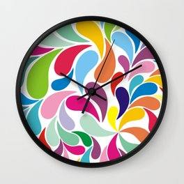 Rainbow colorful paisely on white Wall Clock