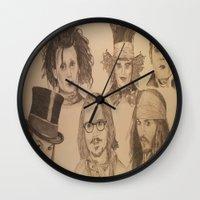 johnny depp Wall Clocks featuring Johnny Depp by Virginieferreux