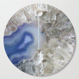 Blue geode agate druse crystal quartz gem gemstone mineral stone science agate photograph hipster Cutting Board